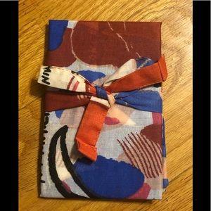 Sézane Cotton Scarf - red/blue women motif